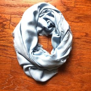 Light Blue Infinity Scarf with Fringe